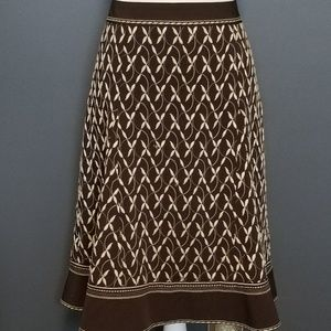 ANN TAYLOR Brown and Creme Embroidered skirt